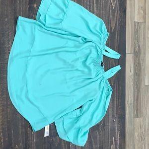 New Directions Light Green Open Shoulder shirt